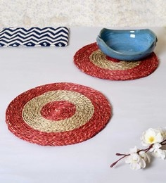 Unravel India Red & Brown Sabai Grass Coasters - Set Of 2