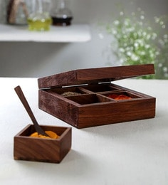 Unravel India Wooden Spice Box With Spoon