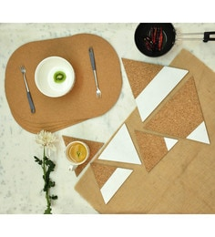 Untold Homes Cork & MDF Placemats With Trivets & Coasters - Set Of 10