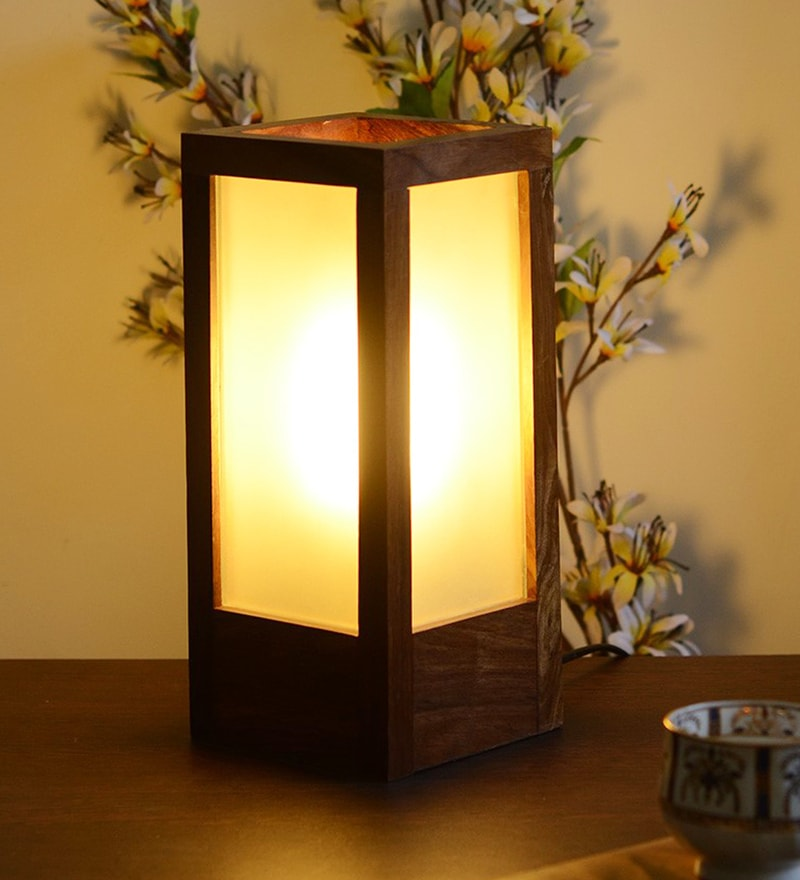 Brown Wood and Glass Table Lamp by Unravel India