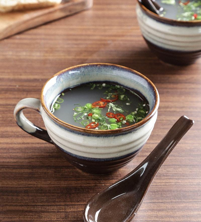 Unravel India Studio Ceramic 150 ML Soup Bowls - Set of 6