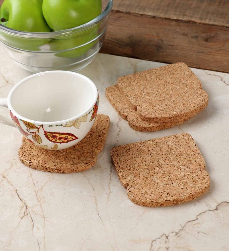 Untold Homes Brown Cork Coaster - Set of 4