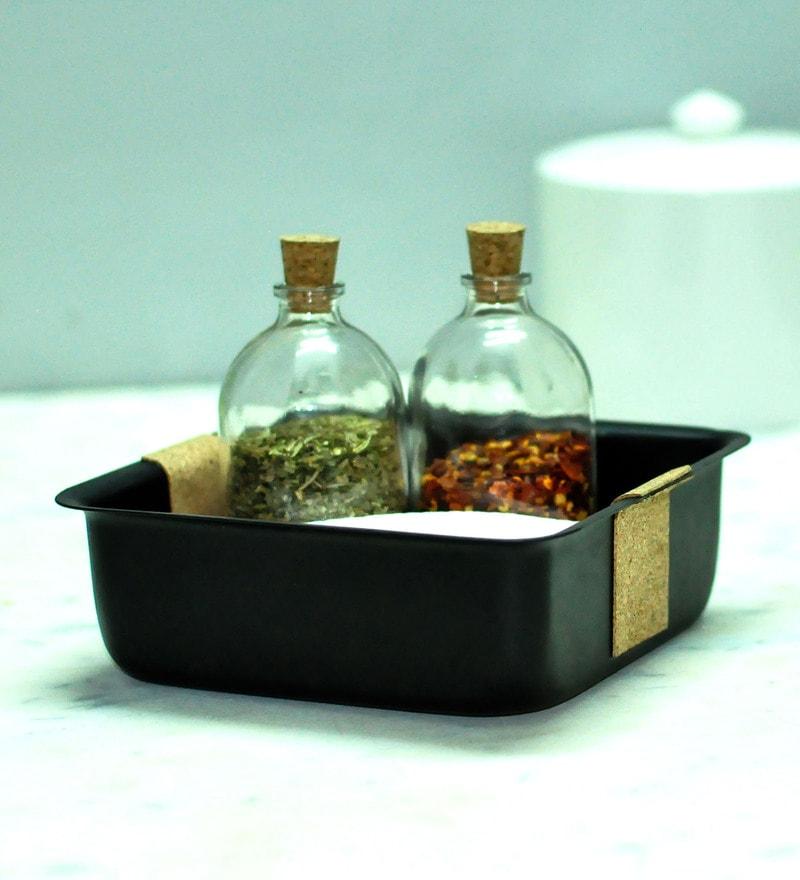 Untold Homes MDF & Glass Platter with Seasoning Bottles - Set of 3