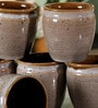 Unravel India Studio Pottery Grey & Brown Stoneware 125 ML Kulhad - Set of 6