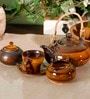 Unravel India Studio Pottery Stoneware Tea Set - Set of 15