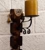 Unravel India Brown Wood & Brass Warli Painting with Dhokra Craft Wall Candle Stand