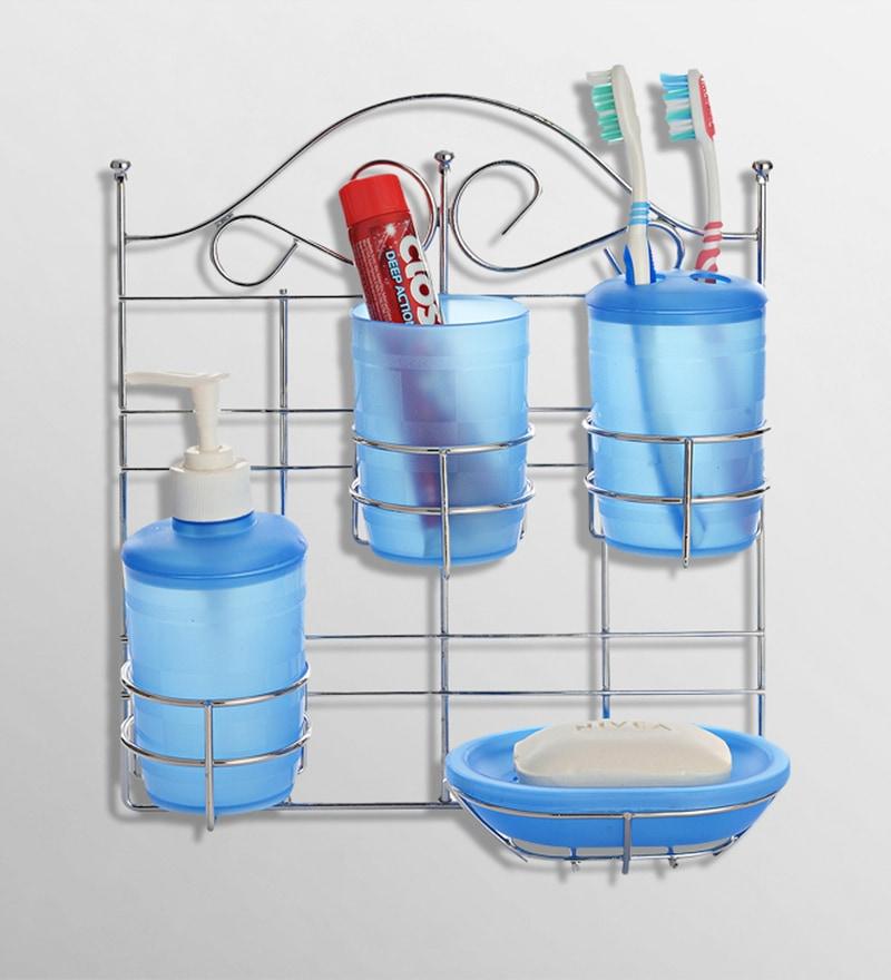 Upasana Blue Polypropylene Accessory Set - Set of 5