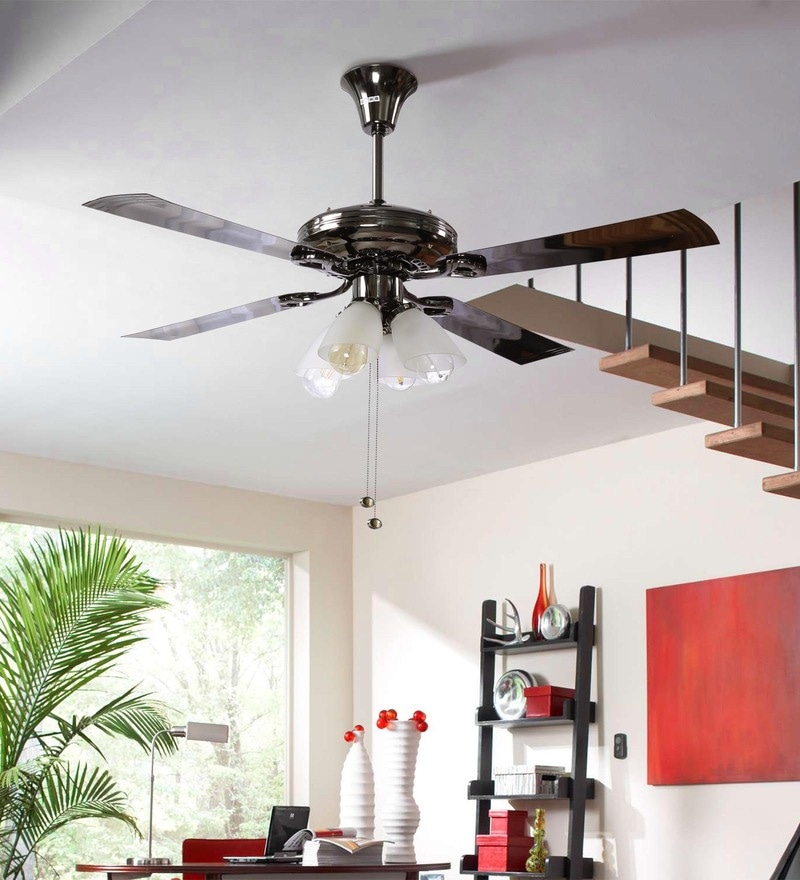 Buy Usha Fontana Lotus Black Chrome Ceiling Fan With Light