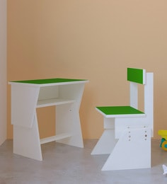 Utopia Extendable Chair & Desk Set For Kids In Green & White Finish