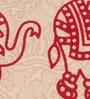 Square Elephant Batik Print Red Cotton 90 x 83 Inch Bed Sheet by Uttam
