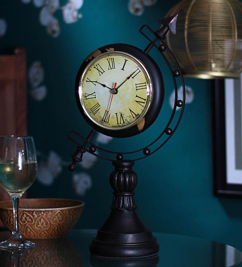 Brown Resin 9 x 4 x 15 Inch Globe Desk Clocks by V Decor