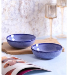 Vareesha Blue Marble Snacks Serving Ceramic Bowls - Set Of 2
