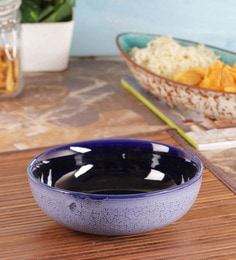 Vareesha Blue Studio Ceramic Bowl,8 Inch