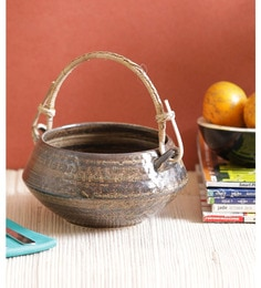 Vareesha Brown Ceramic Bowl With Cane Handle