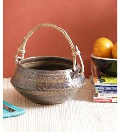 Vareesha Brown Ceramic Bowl With Cane Handle