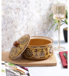 Vareesha Brown Warli Serving Ceramic Bowl With Lid