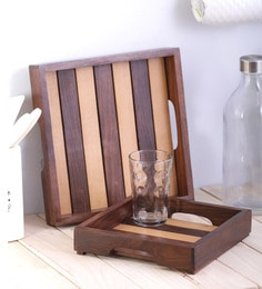 Vareesha Dual Tone Square Wooden Trays - Set Of 2