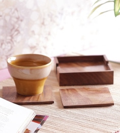 Vareesha Gold Flower Wooden Coasters With Holder - Set Of 5