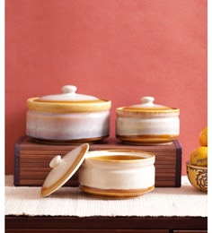 Vareesha Golden Mustard Ceramic Bowls With Lids - Set Of 3