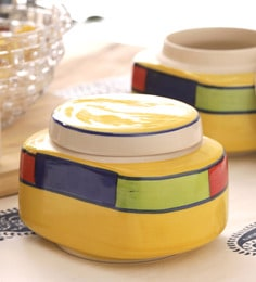 Vareesha Hand Made Ceramic Pickle Jar With Lids - Set Of 2