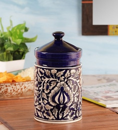 Vareesha Hand Painted Blue Moroccan Ceramic Pickle Jar,8 Inch