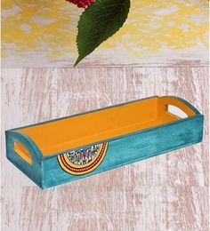 Vareesha Hand Painted Blue Yellow Wooden Runner Tray
