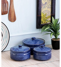 Vareesha Inky Blue Ceramic Bowls With Lid - Set Of 3