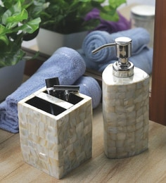 VarEesha Off White Sea Shells & Acrylic Triangle Soap Dispenser With Brush Holder - Set Of 2