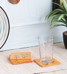 Vareesha Orange Wooden Coasters - Set Of 4