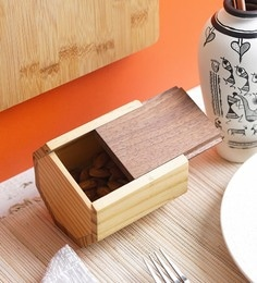 VarEesha Pine Wood Storage Box With Sliding Lid Mukhwas