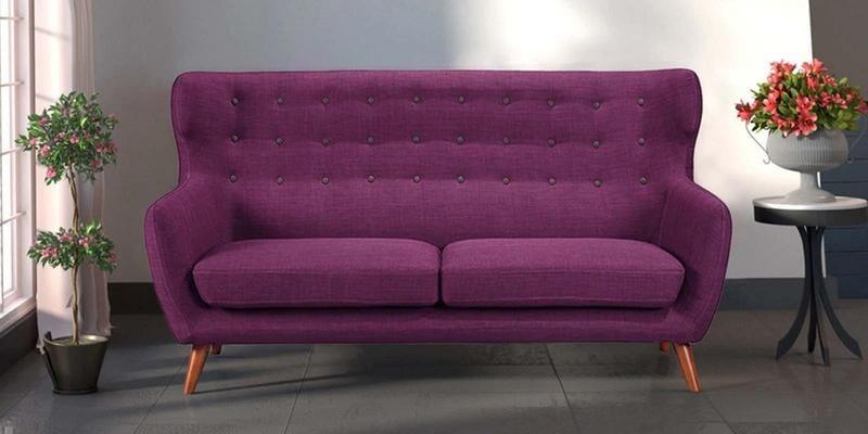 Valencia Three Seater Sofa in Deep Sangria Colour by CasaCraft