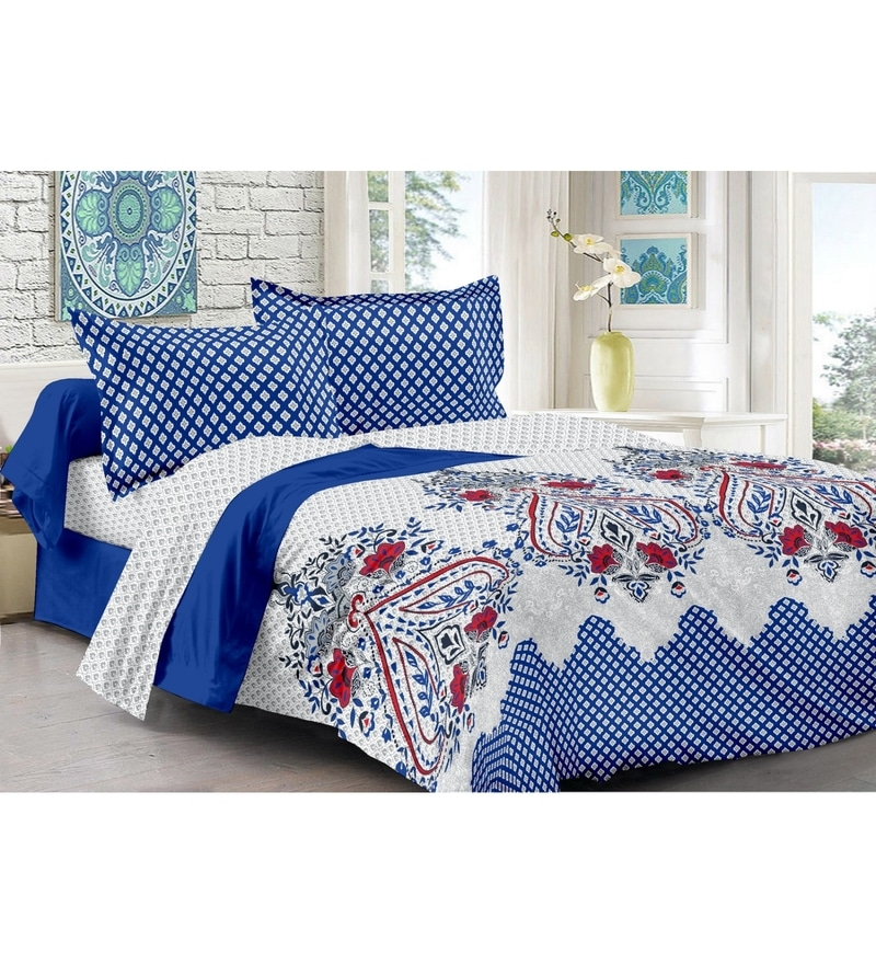 Blue 100% Cotton Queen Size Della Bed Sheet - Set of 3 by Valtellina