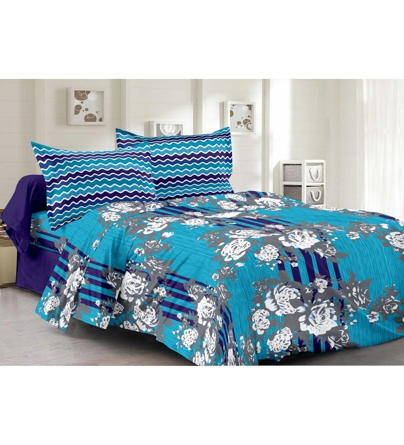 Valtellina Blue 100% Cotton Queen Size Della Bed Sheet - Set of 3
