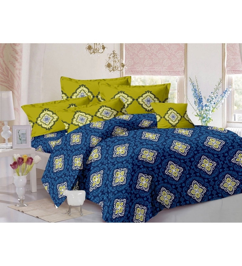 Blue 100% Cotton Queen Size Zeba Bed Sheet - Set of 3 by Valtellina