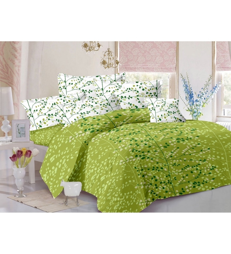 Green 100% Cotton Queen Size Zeba Bed Sheet - Set of 3 by Valtellina