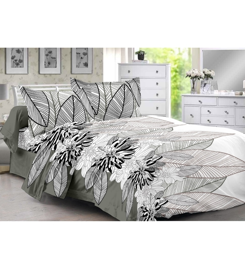 Grey 100% Cotton Queen Size Diva Bed Sheet - Set of 3 by Valtellina