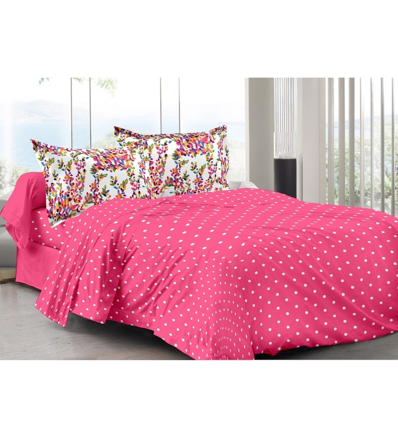 Pink 100% Cotton Queen Size Diva Bed Sheet - Set of 3 by Valtellina