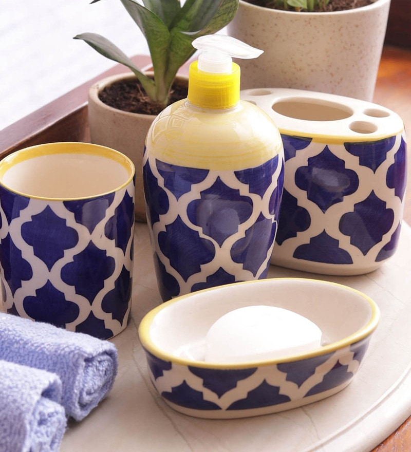 VarEesha Blue Ceramic Bathroom Accessories Set - Set of 4