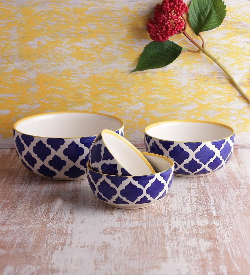 VarEesha Ceramic Handcrafted Bowl - Set of 4