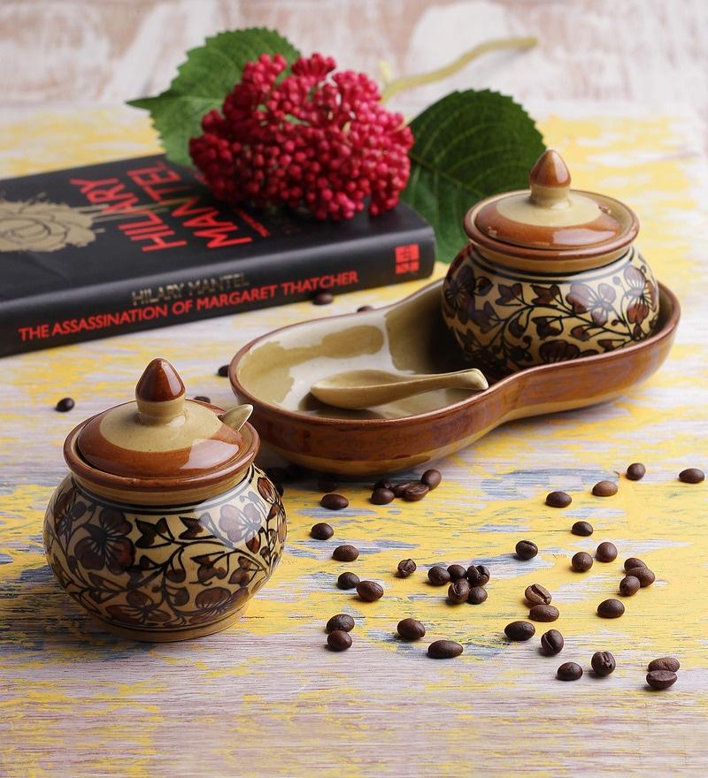 VarEesha Brown Cylindrical 150 ML 5-piece Pickle Jar Set