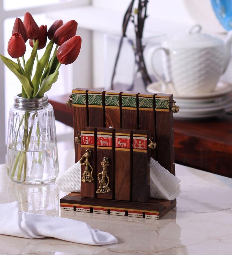 VarEesha Handcrafted Brown Ceramic Tissue Holder