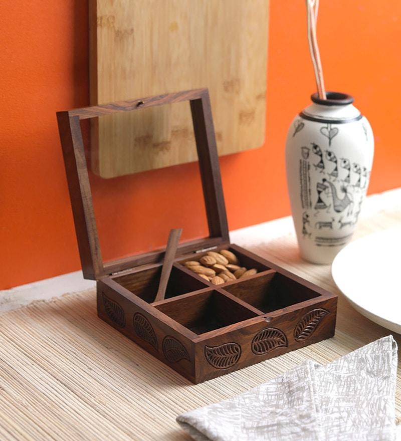 VarEesha Leaf Carved Wooden Serving Box Dry Fruit