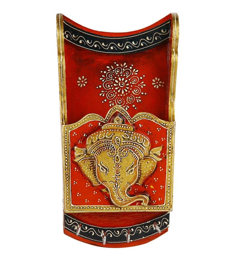 Multicolour Wood Lord Ganesh Image Handcrafted Key Holder by VarEesha