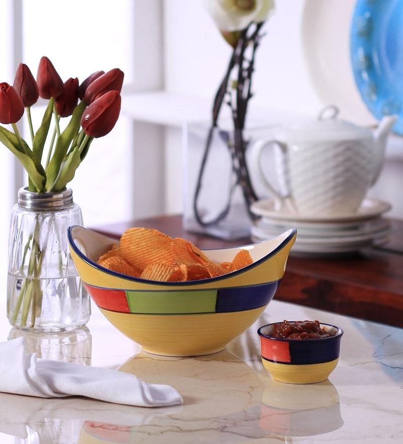 VarEesha Multicolour Ceramic Salad Serving Bowl with Sauce Dish - Set of 2