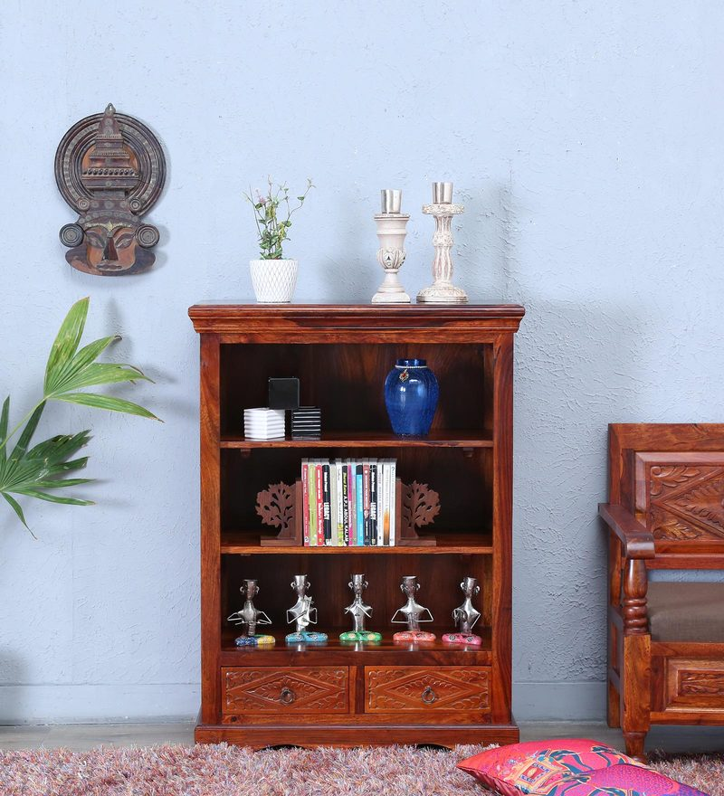 Vayaka Book Shelf in Honey Oak Finish by Mudramark