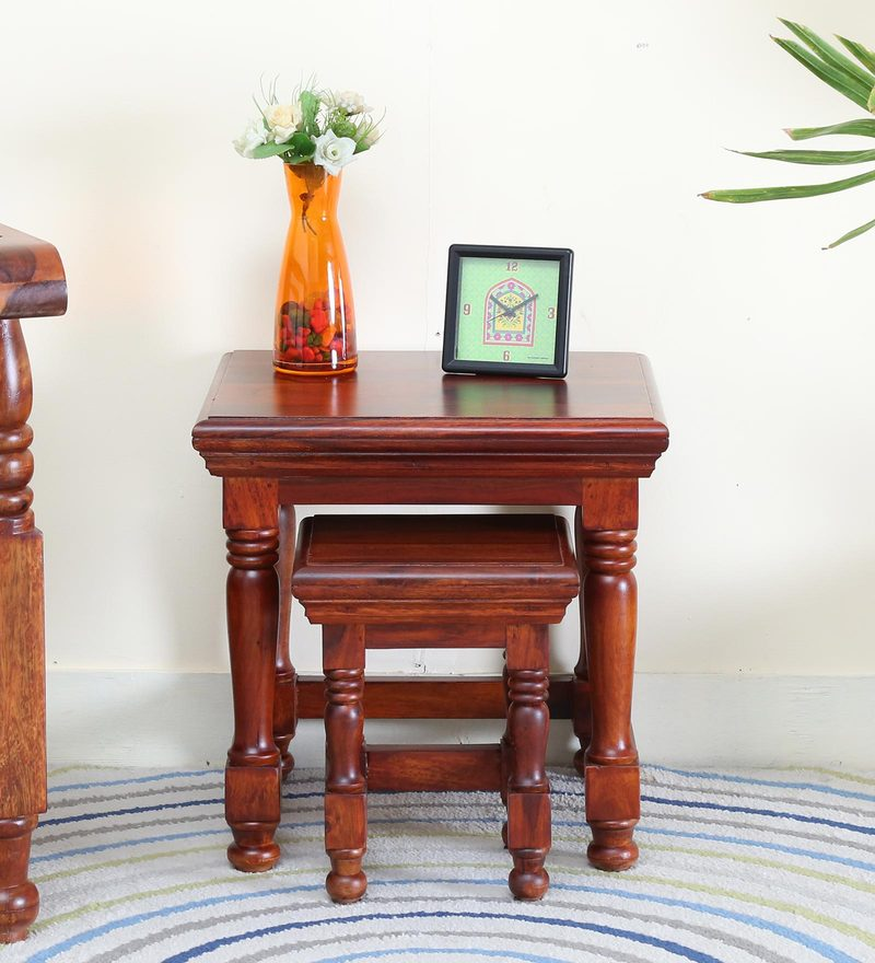 Vayaka Set of Table in Honey Oak Finish by Mudramark