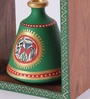 VarEesha Ethnic Brown and Green Wooden Shelf Terracotta Pot