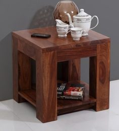 Vermount End Table With Rack In Light Walnut Finish