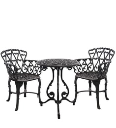 Victorian Antique Black Cast Aluminium Table And 2 Chair