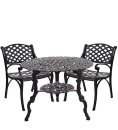 Victorian Style Antique Black Cast Aluminium Table With Shelf And 2 Chair